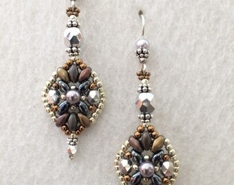 Silver Czech Crystal Vintage Inspired Earrings