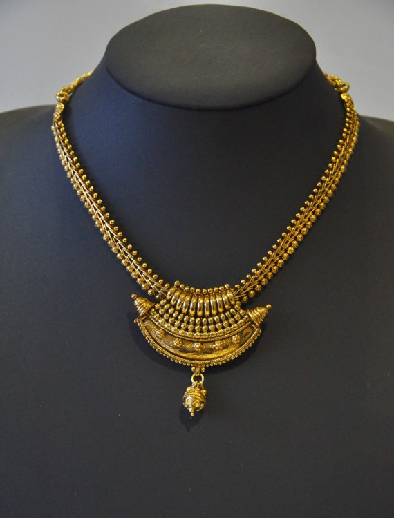 Antique gold design Indian necklace with earrings  | Indian Jewellery | Indian Necklace | Temple Jewelry