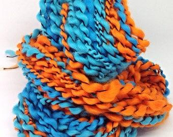 Handspun yarn - hand spun orange and blue yarn - Orange and Blue - chunky knitting yarn