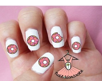 30 Donut Nail Decals  (Waterslide Nail Decal)