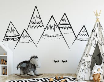 Tribal Mountains Wall Decal - Mountain Decal, Woodland Nursery, Tribal Wall Decals, Woodland Decal, Tribal Nursery Decal, Mountains Nursery