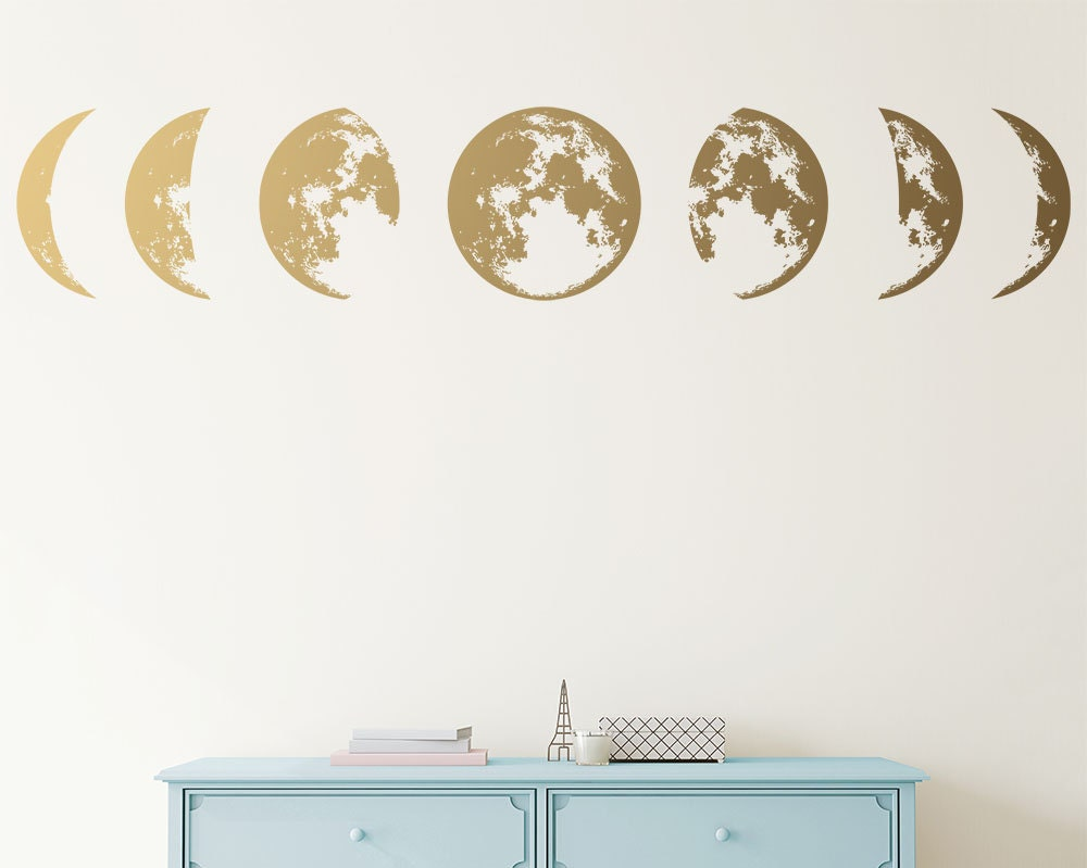 moon phases wall decal moon phases decor modern decals. Black Bedroom Furniture Sets. Home Design Ideas