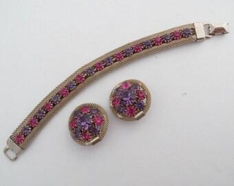 Weiss bracelet earring set gold tone mesh pink purple rhinestones AA832