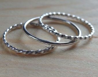 Sterling Silver Stacking Rings - Set of Three