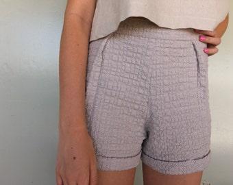 Cuffed Shorts - Pleated Shorts - Grey Shorts - Short Shorts - High Waisted Shorts - Beige Shorts - Neutral Shorts - Textured Shorts - Cotton