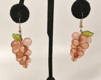 Vintage Lucite & Glass Grape Dangle Earrings