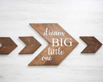 Rustic Nursery Decor- Woodland Nursery Decor-  Baby Shower Gift- Dream Big Little One Nursery Set- Wood Chevron Arrows- Nursery Wall Hanging