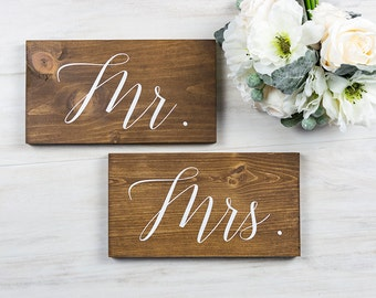 Wedding Decor- Wedding Chair Signs- Mr. and Mrs. - Rustic Wedding Decor- Wedding Signs- Woodland Wedding- Boho Wedding Decor- His and Hers