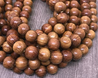 Round Bayong Wood Beads, Waxed Wooden Beads, Handcrafted Wooden Beads, Natural Brown Bayong Wood Beads, 10mm - 40 beads (W10-13)