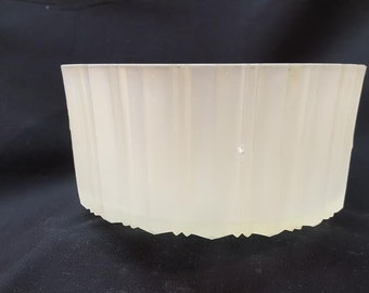Small  Vintage  Heavily Geometric Ribbed center post light cover  with Champagne tint
