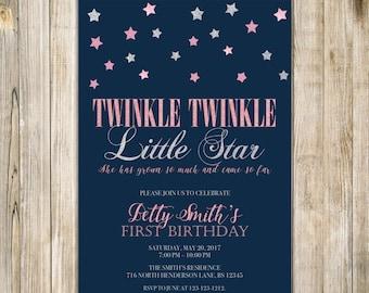 Twinkle TWINKLE LITTLE STAR Girl Birthday Invitation, Pink Silver Stars 1st FirstBirthday Invite, Navy Blue One Birthday, Printable Digital