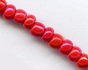 Vintage lipstick red luster seed bead. Size 4 (4mm) 12-gr. bag. b17-100(e)