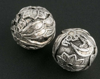 Silver plated 10mm bead. Dragonfly with lotus flower caps. Sold individually. b18-584(e)