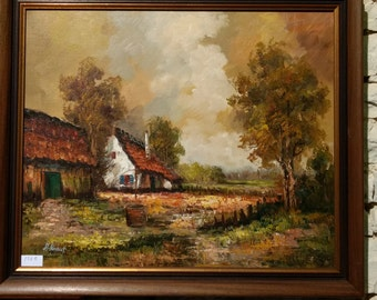 Rural French vintage landscape painting of cottage in country scene, in wood frame and signed by the artist circa 1970s.