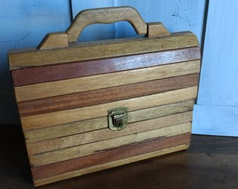 French vintage, artisan made, slatted wood briefcase with flowery interior fabric, circa 1970s.