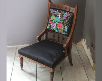 Victorian Chair with Embroidered Panel and New Velvet Upholstery