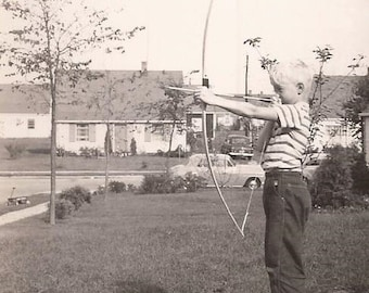 Dennis the Menace? Little Boy with Bow and Arrow, Notation Bow and Arrow, Alas Poor Neighbor, Vintage Photograph, Black and White Photo