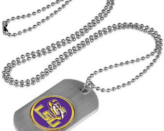 LSU Tigers Stainless Steel Dog Tag Necklace