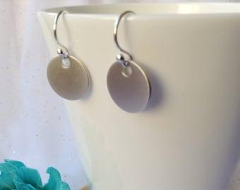 SILVER TAG EARRINGS - Silver Disc Earrings - Small tag earrings