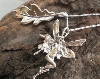 Sterling Silver Woodland Fairy Oak Leaf Pendant Necklace Pagan Jewellery