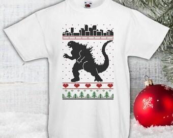 Godzilla Ugly Christmas Knit Christmas Shirt, Kids Shirt, Boys Shirt, Godzilla Fan,Tshirt,Etsy, Christmas Sweater Gifts, bodysuit CT-867