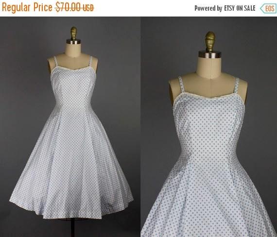 SALE 15% STOREWIDE 1950s blue polka dot dress/ 50s cotton sundress/ small