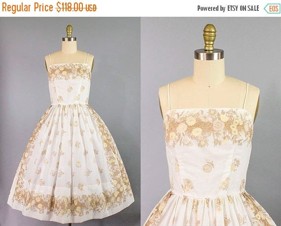 SALE 15% STOREWIDE 1950s floral sundress/ 50s dandelion print dress/ small