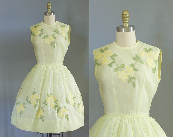 1950s yellow floral cotton dress/ 50s sundress/ extra small xs