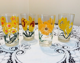 Vintage Jelly Glasses Drinking Glasses Yellow Flowers Set of 4 Retro Farmhouse