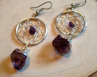 Silver Dreamcatcher Amethyst Earrings