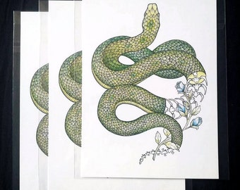 PRINT A5 . Flowering snake . Art . Illustration . Draw