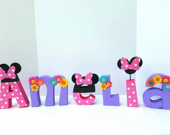Floral minnie mouse wood name letters - PRICE PER LETTER - minnie mouse letters - minnie mouse party decor - minnie mouse name - minnie