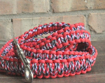 Red, Black and White Paracord 6ft Dog Leash