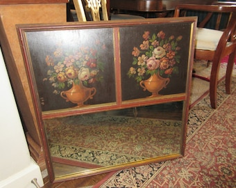 VINTAGE FLORAL PAINTINGS with Mirror Wall Hanging