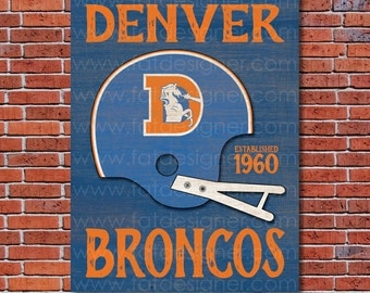 Denver Broncos - Vintage Helmet - Art Print - Perfect for Mancave
