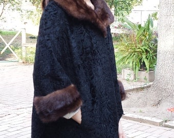 Vintage Elsa Schiaparelli fur coat, medium, black, 60s, persian lamb, mink, designer, no shipping fee in the USA.