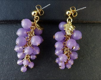 Vintage 1970s - Goldtone and Purple Bunches of Grapes - Waterfall Stud Earrings.