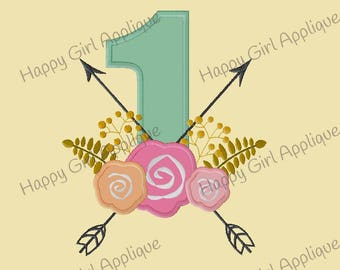 Floral Number Set Applique