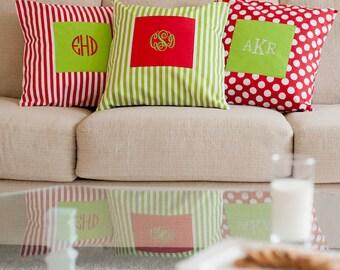 Monogrammed Throw Pillow Cover/ Monogrammed Pillow Sham/ Monogrammed Dorm Pillow