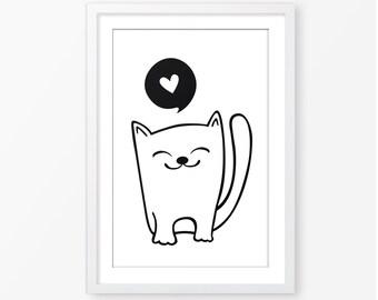 Cat illustration,printable wall art,childrens room decor,baby gift,digital file,black and white,monochromatic art print,baby nursery decor