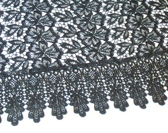 Vintage Japanese Black Lace Shawl, Scarf, Wrap, Gift For Her.