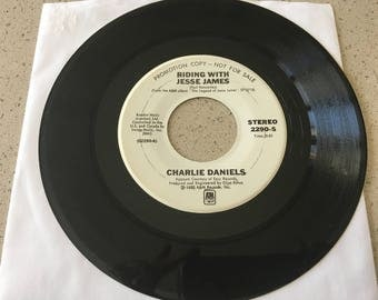 Charlie Daniels - Riding with Jesse James / Emmylou Harris - Wish we Were Back in Missouri / 45 Rpm Promo White Label / Vinyl Record / 1980