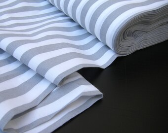 Cotton Fabric -Striped fabric - Grey- White 15mm/15mm Curtain fabric -Stripe fabric   by the Fat Quarter Half Metre Metre