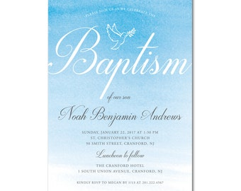 Baptism/Christening 5x7 Invitation - Watercolor Dove - Printable and Personalized