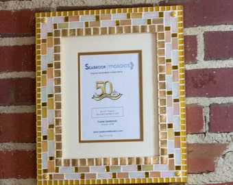 Gold and White - Mosaic Picture Frame (Gold Anniversary Frame)