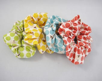 Polka dots and sheep scrunchie, Ponytail holder, Hair tie, Green, Yellow, Blue, Red