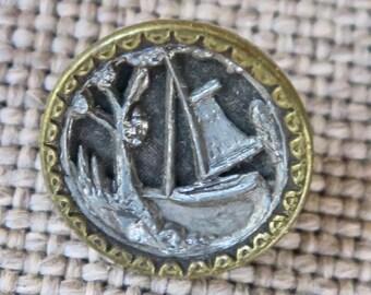 Sailboat Scene Picture Button