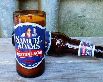 Sam Adams Boston Lager Candle, Repurposed Beer Gift, Massachusetts Decor
