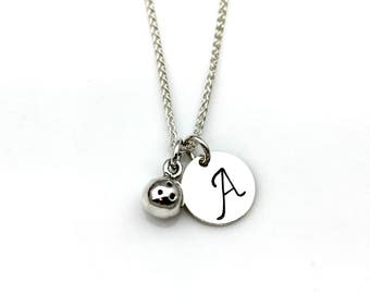 BOWLING BALL INITIAL Necklace in Sterling Silver
