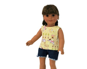 Puppy Tank Top and Cut Off Jeans for 18 Inch Dolls such as American Girl, Our Generation, Madam Alexander